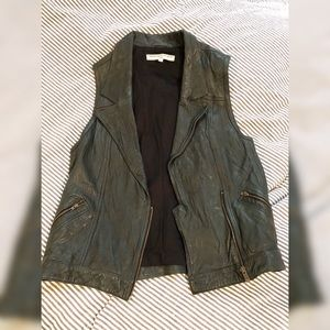 Leather Dk Olive (Green) Lined Moto Vest